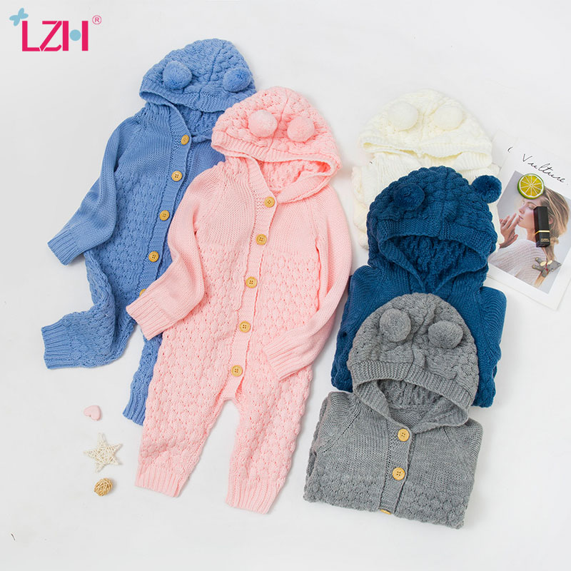 LZH Baby Knit Rompers For Baby Boys Jumpsuit Autumn Winter Newborn Baby Girls Clothes Costumes Kids Overalls For Infant Clothing