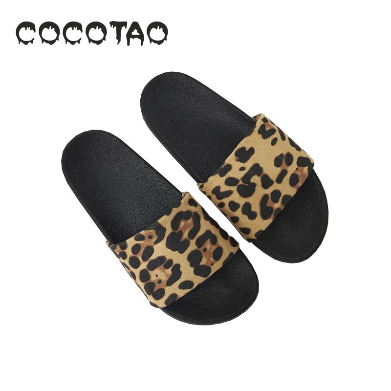 Leopard print slippers for female summer wear fashion Joker Korean version of net red ins sandals out student chic tide10 in Slippers from Shoes