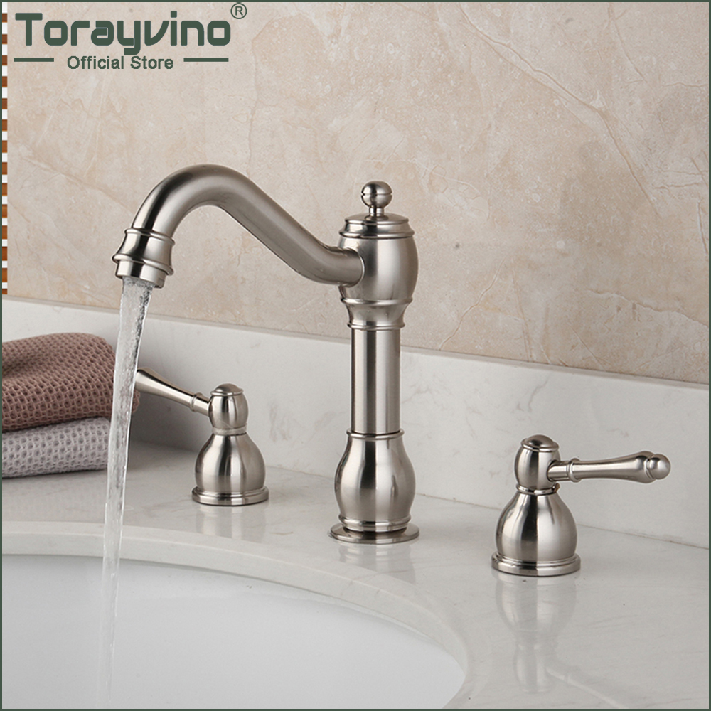 Torayvino Nickel Brushed Bathroom Faucet 3 Holes Double Handle Basin Sink Deck Mounted Bathtub Hot And Cold Mixer Water Tap