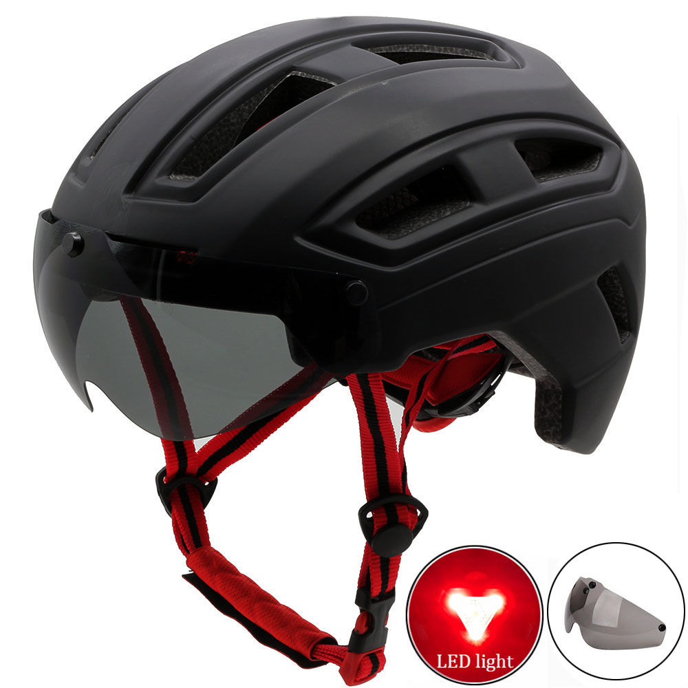 Bicycle Helmets Matte Black Men Women Bike Helmet Back Light MTB Mountain Road Bike Integrally Molded Cycling Helmets