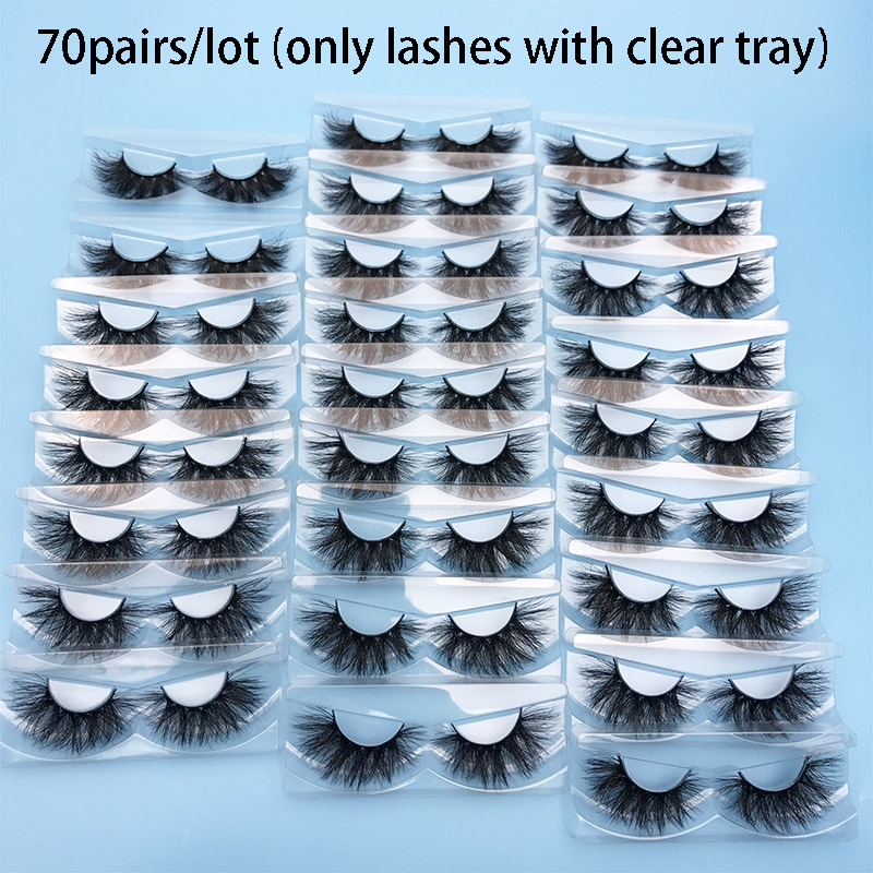 MIKIW 70 Pairs Wholesale Mink Eyelashes No Box 3D Mink Lash Handmade Dramatic Lashes 24 Styles Only Mink Lashes With Clear Tray