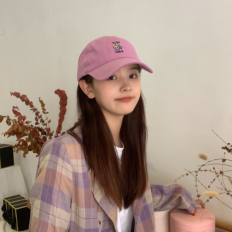 Trend Hat Female Korean Cute Cartoon Surfing Embroidery Peaked Cap Adjustable Baseball Cap Outdoor Sun Protection Hat For Women