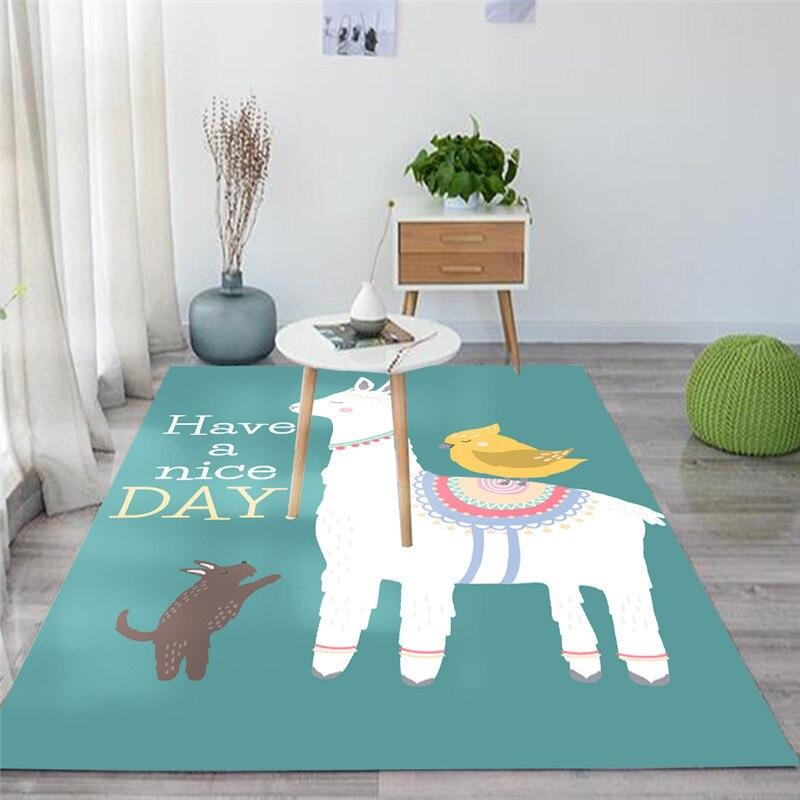 Tapis Animal de bande dessinée 3D tapis de jeu de chambre d'enfants tapis de mousse de mémoire de flanelle douce grand tapis de tapis pour le salon