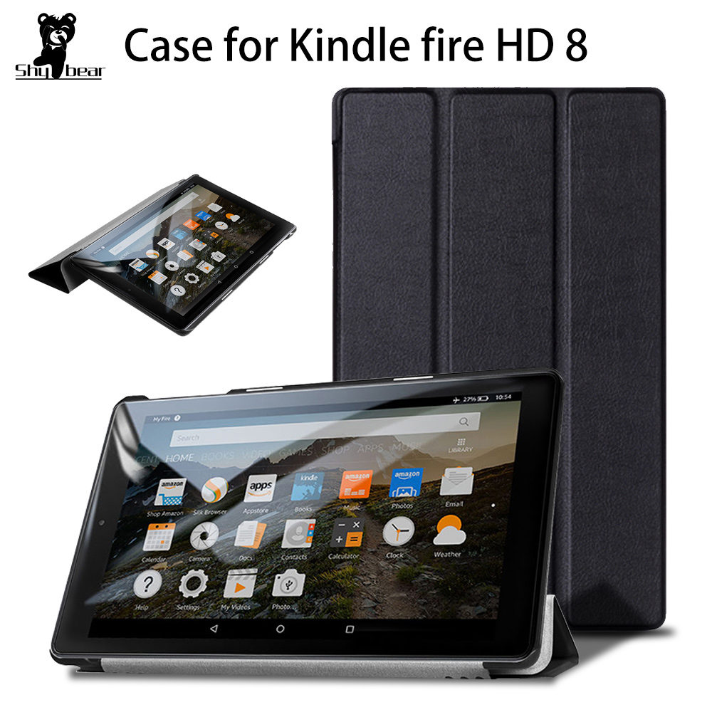 Protective Cover Case For Amazon Kindle Fire Hd 8 Tablet 2017 /2018 Smart Case For  Fire Hd 7th 8th Generation +free Gift