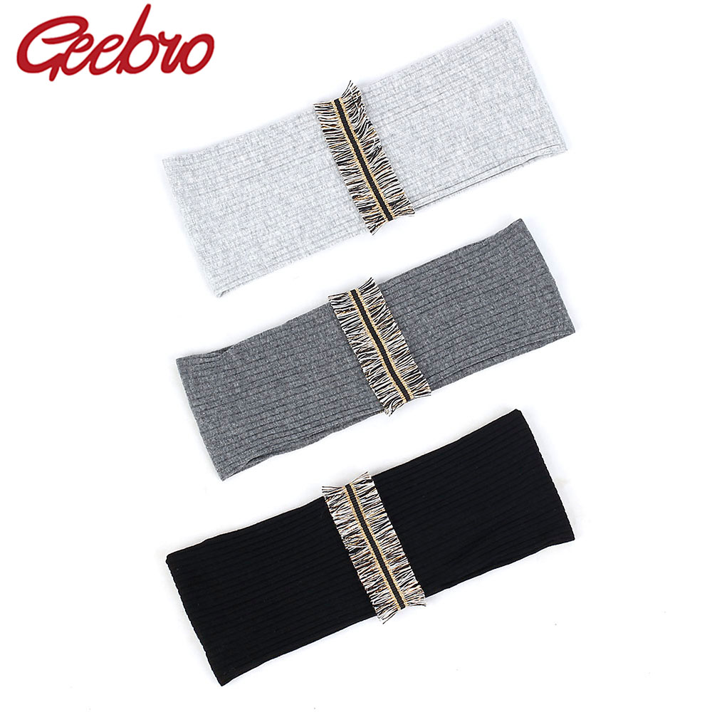 Geebro Novelty Tassel Stripe Women Headband Sweet Ribbed Hair Band Wide Elastic Hair Accessories For Yoga Running Girls Gift