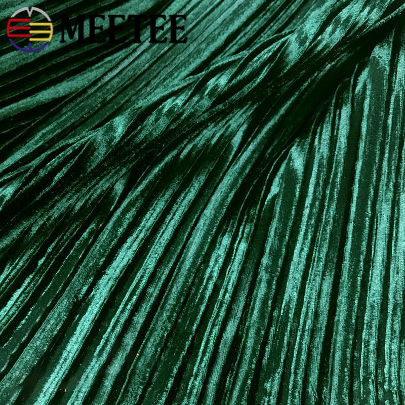 1/2M Meetee 150cm Pure Color Pleated Cloth Crushed Gold Velvet Fabric for Winter Spring Skirt T-shirt Appearl Sewing Accessories