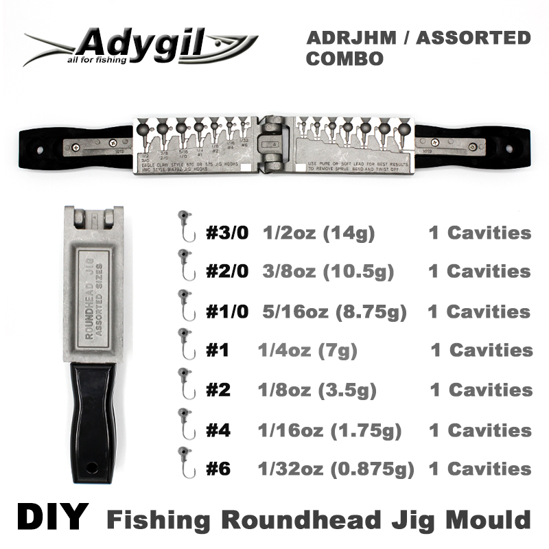 Adygil DIY Fishing Roundhead Jig Mould ADRJHM/ASSORTED COMBO 1/32oz, 1/16oz, 1/8oz, 1/4oz, 5/16oz, 3/8oz, 1/2oz 7 Cavities