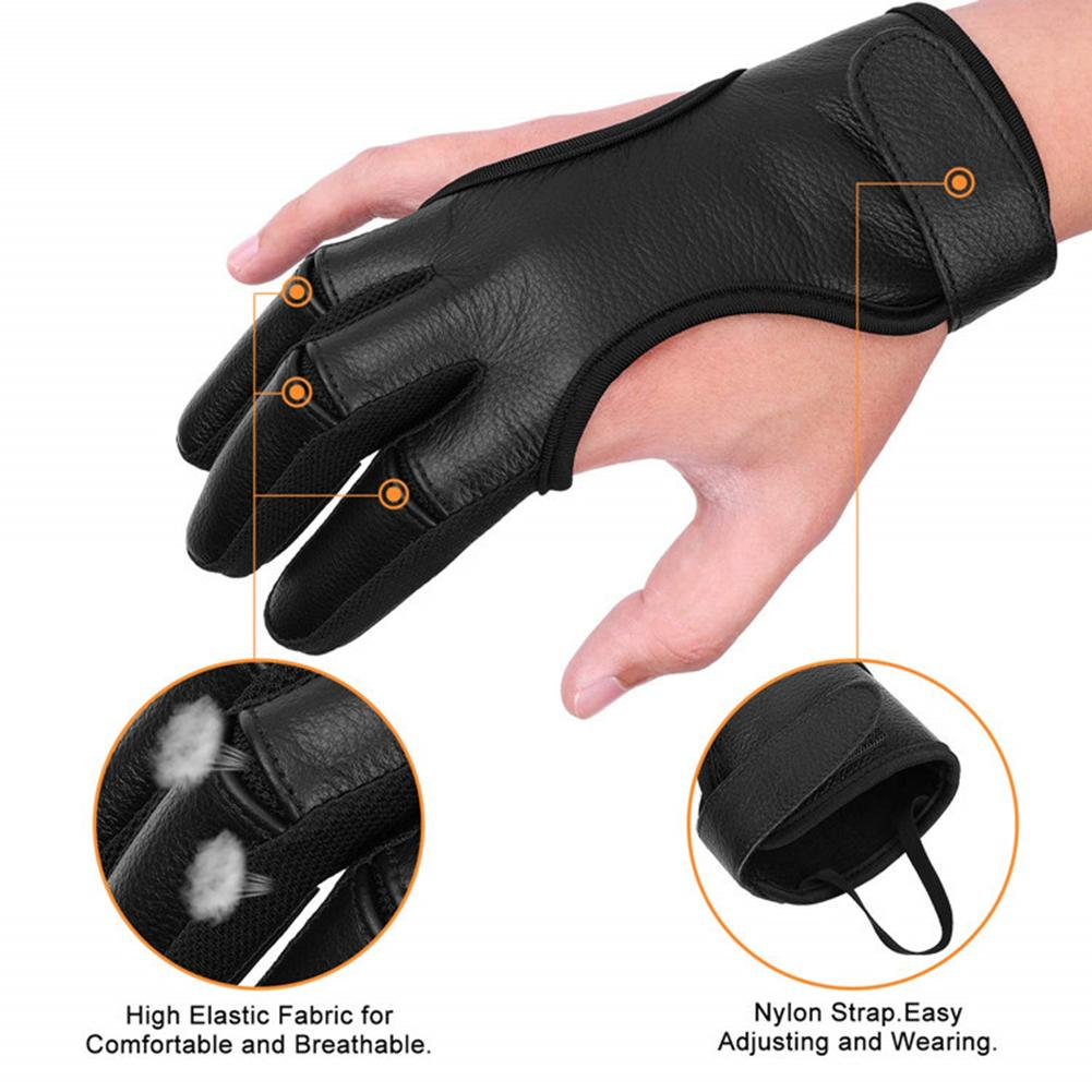 Professional Three Finger Hunting Gloves Archery Shooting Gloves Three Leather Finger Protective Archery Gloves M L XL Right