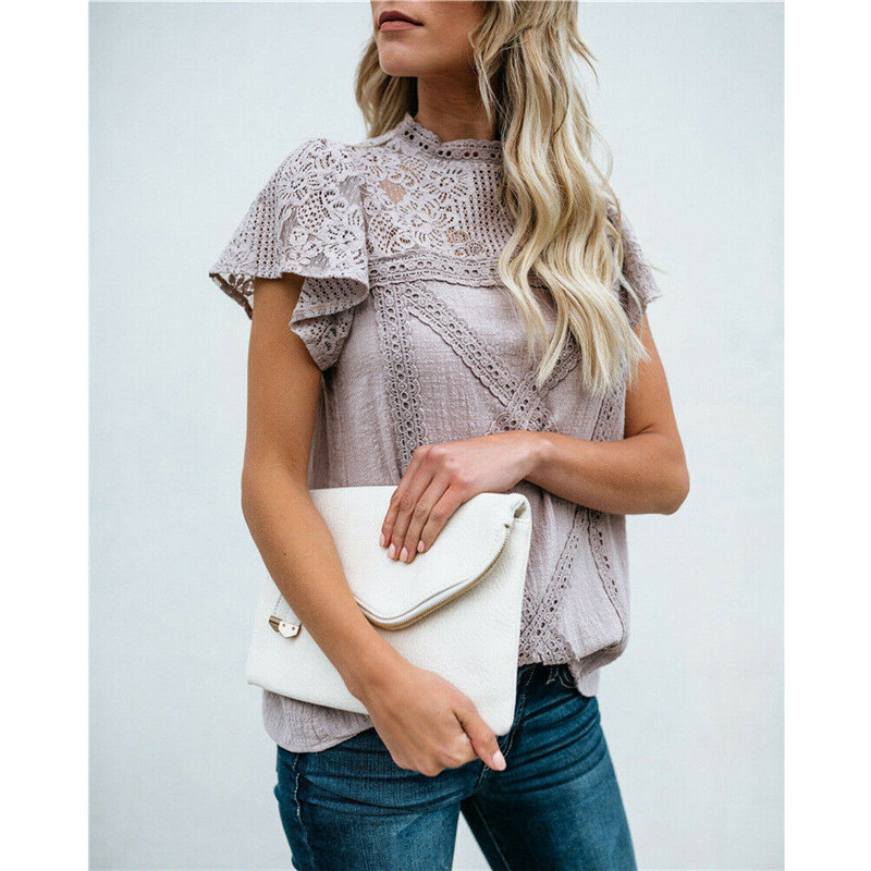 Ladies Lace Stitching White Blouses Shirts Women Summer Keyhole Back Hollow Out Sleeveless Casual Tops Female Sweet Chic Blusas