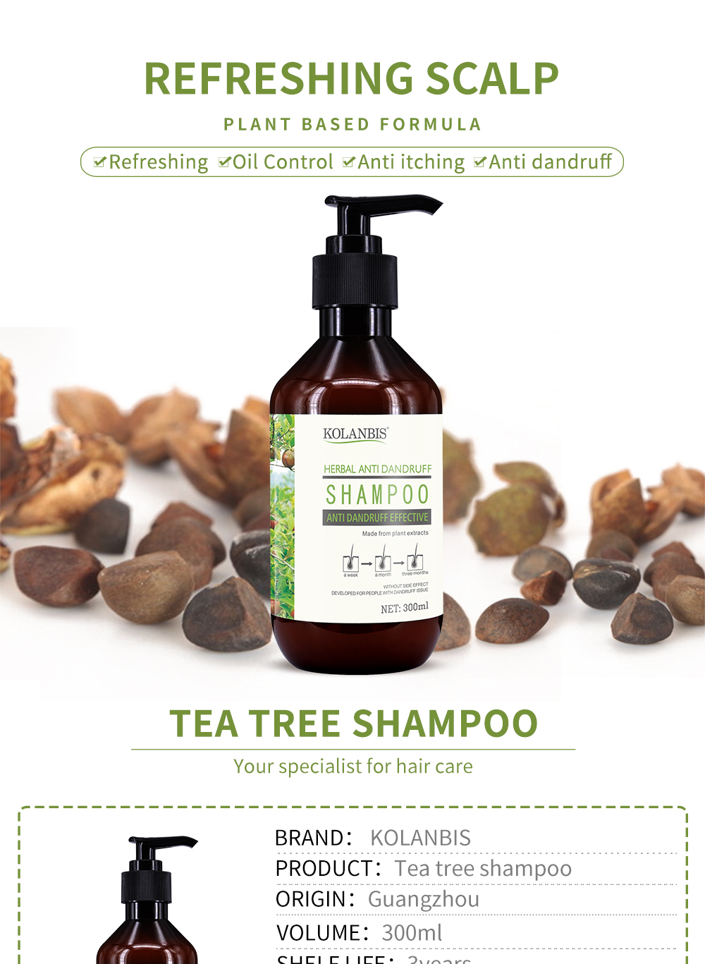 Hair Anti Dandruff Shampoo Scalp Care Nutrition Nourish Tea Tree Oil Product Oily Control Treatment Hair Refreshing Anti Itchy