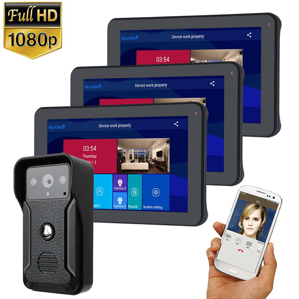9 Inch  3 Monitor Wifi  Wireless Video Door Phone Doorbell Intercom Entry System With HD 1080P Wired Camera Night Vision