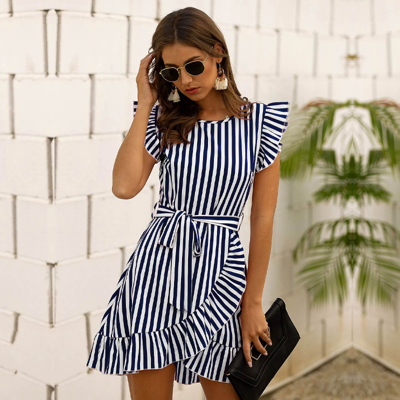 2020 New Flare Sleeve A-line Summer Dress Above Knee, Mini Short O-neck Striped Streetwear Women Sashes Cotton Dress MSFILIA