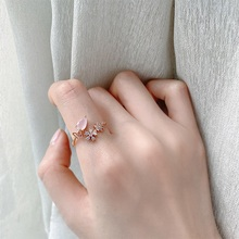MENGJIQIAO Korean Pink Waterdrop Crystal Delicate Zircon Adjustable Rings For Women Micro Pave Butterfly Finger Ring Jewelry
