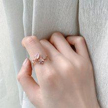 MENGJIQIAO koreański różowe kryształy krople delikatna cyrkonia regulowane pierścienie dla kobiet Micro Pave Butterfly Ring Finger biżuteria