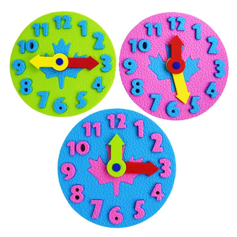 Cognitive Digital Clock Toys Math Game Baby DIY Manual Eva Clock Toys Teaching Aids Kids Puzzle Kindergarten Time Learning Tools
