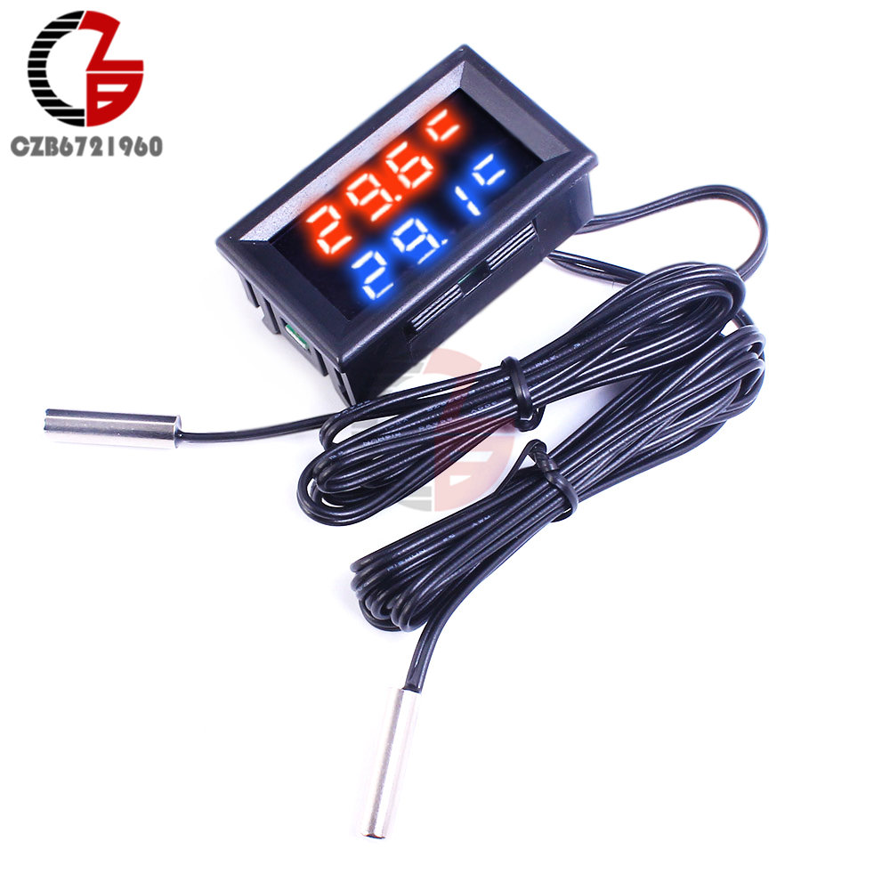 1M Dual LED Display Digital Thermometer Fridge Refrigerator Aquarium Auto Car Temperature Sensor Meter Detector Tester Monitor