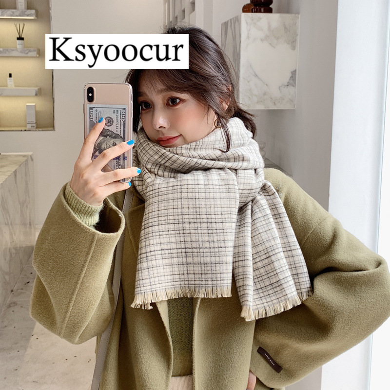 Size  190*60cm, 2020 New Autumn/Winter Long Section Cashmere Fashion Scarf Women Warm Shawls And Scarves Brand Ksyoocur E18
