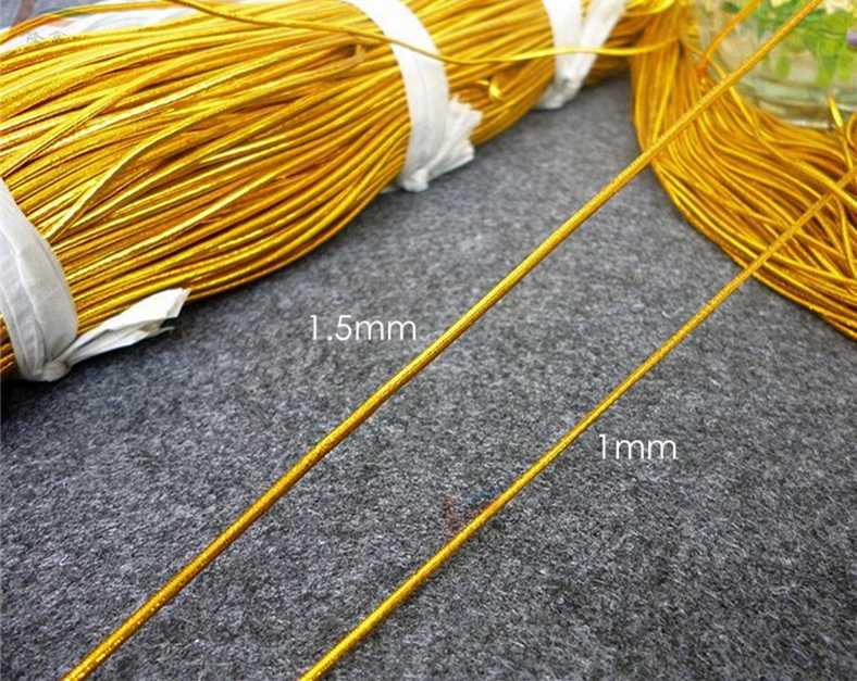 Nowy DIY 10 jardów 1-1.5 Mm szerokość złoty srebrny elastyczna lina rdzeń wstążka do pakowania Craft