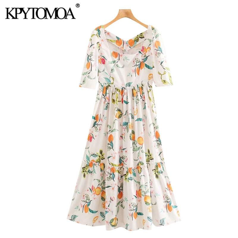 KPYTOMOA Women 2020 Chic Fashion Floral Print Ruffled Midi Dress Vintage Square Collar Puff Sleeves Female Dresses Vestidos