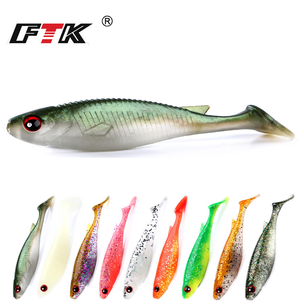 FTK Fishing Lure Fake Fish Soft Body Lure Bass Bait Fishing Tackle 1pcs 100mm 8g Kit Wobbler Sandworm Swim Bait Saltwater HA