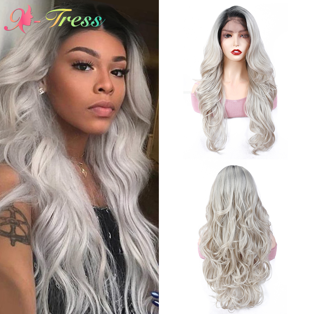 X-TRESS Lace Frontal Wig Ombre Grey Long Loose Wavy Women's Wigs Heat Resistant Fiber Synthetic Lace Wig For Cosplay Daily Use