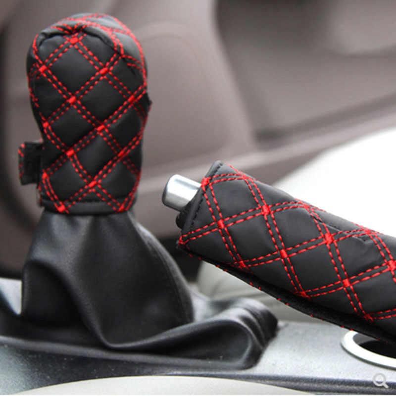 2 pièces/ensemble couvre-pommeau de levier de frein à main en simili cuir pour Toyota Camry Corolla RAV4 Yaris Highlander/Land Cruiser/PRADO Vios Vitz/