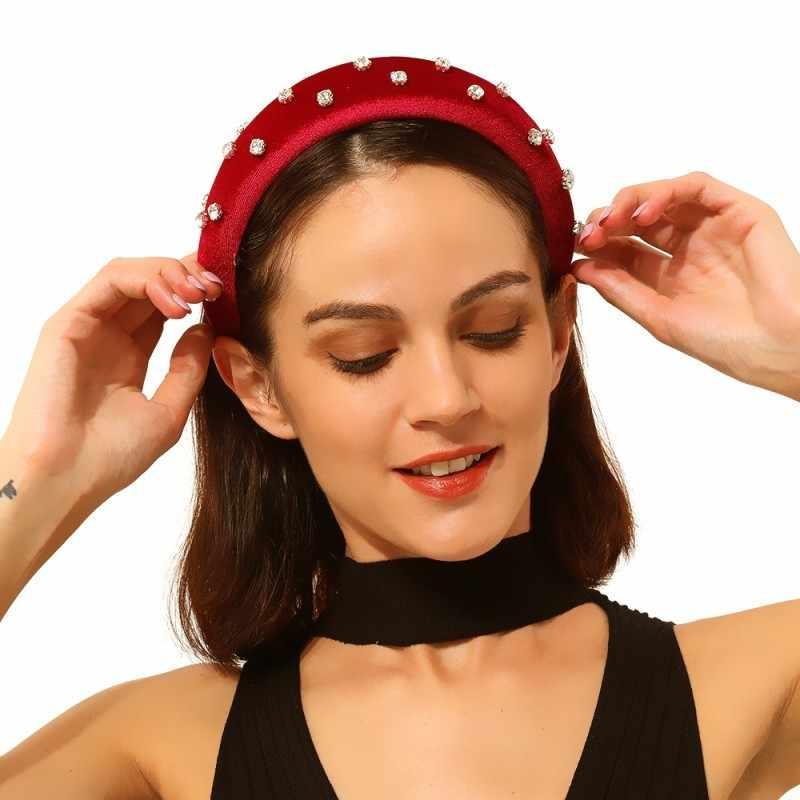 Vintage boho simulado pérolas feminino headbands strass esponja hairbands coroa macia hoop cabelo palácio jóias f190