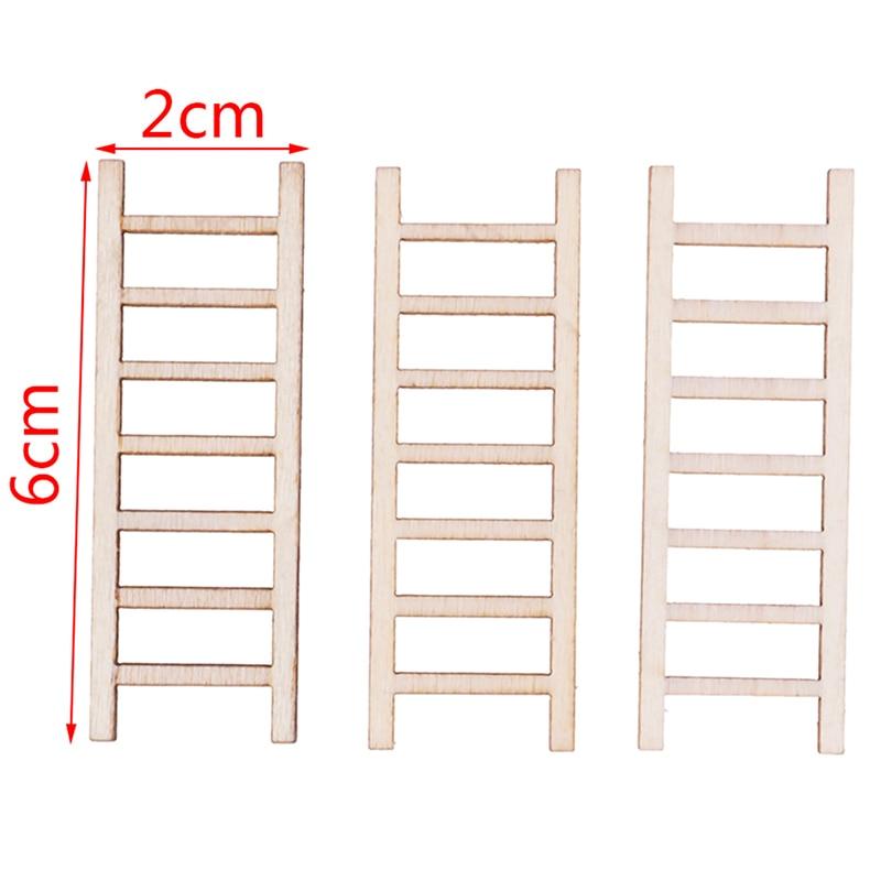 3 PCS/lot 1:12 Dollhouse Miniature Fairy Garden Decor Dollhouse Miniature Wood Step Ladder Furniture Toys Tools