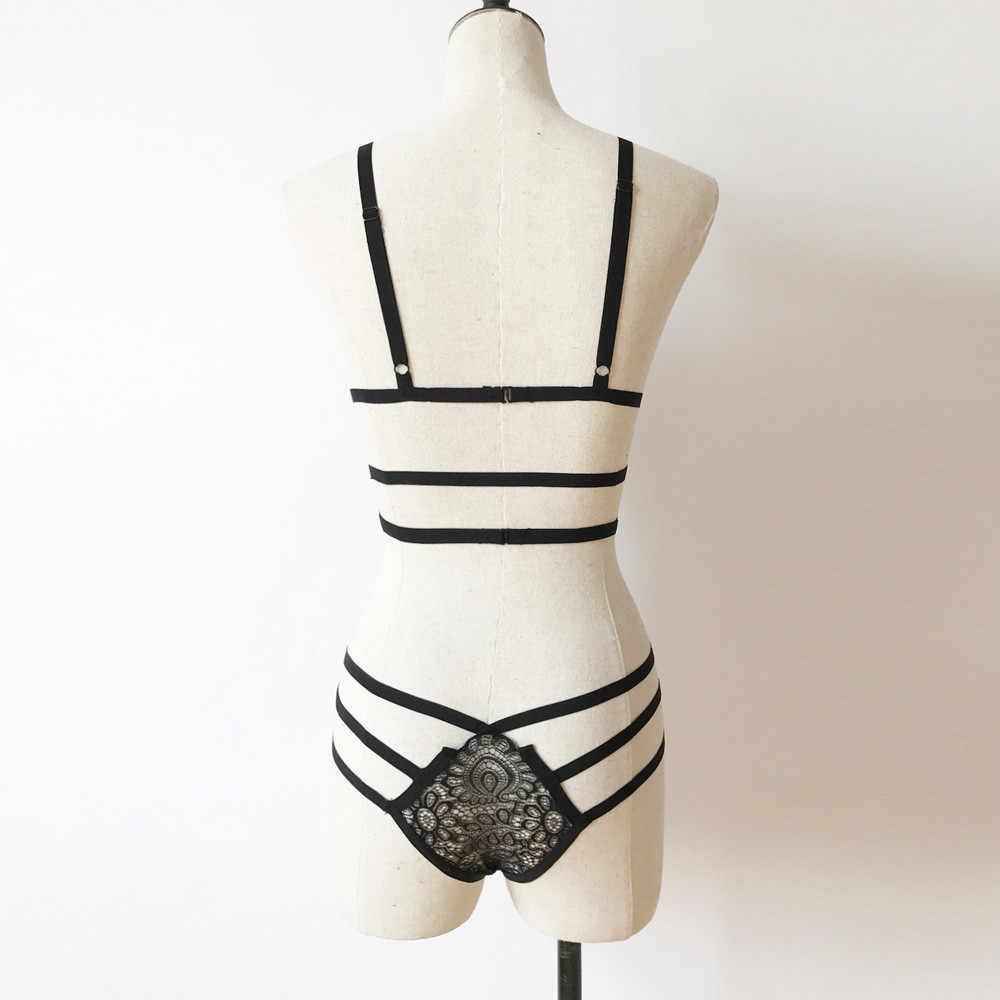 Vrouwen Lingerie Set Corset Lace Bandage Push Up Top Beha + Broek Ondergoed Set Mode Sexy Kant Zwarte Lingerie Нижнее белье 03 *