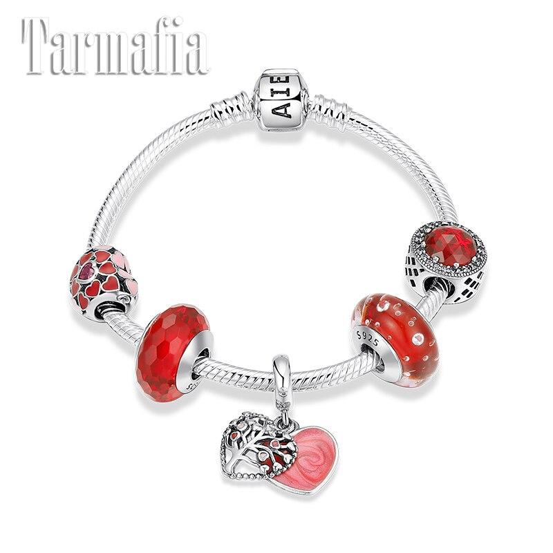Véritable argent Sterling 925 charme serpent chaîne Bracelets rose émail cœurs vie arbre perles bijoux originaux saint valentin cadeau 2019