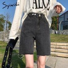 Bermuda Jean grigi pantaloncini donna Denim estivo nappa corta solido Casual pantaloncini a vita alta Streetwear Plus Size 2021 Jeans neri