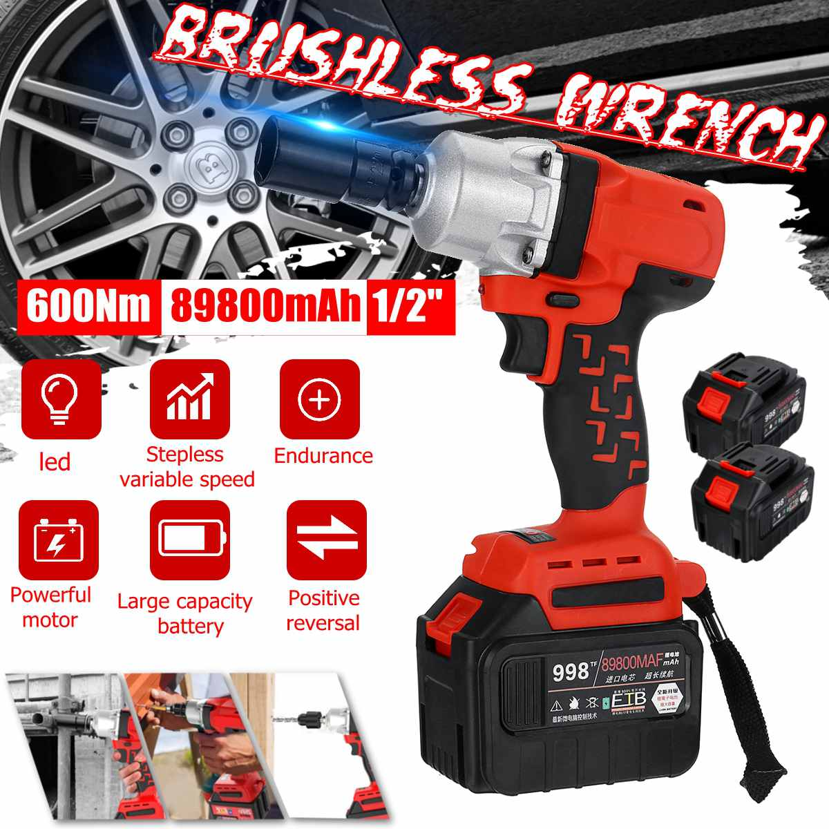 "Rechargeable Cordless Impact Electric Wrench 600Nm 89800mAh Torque Household Car/SUV Wheel 1/2"" Socket Wrench Power Tool"