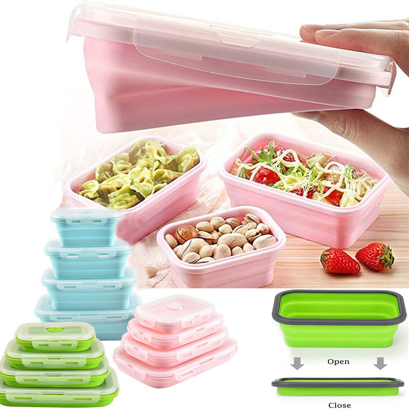 Silicone Lunch Box Foldable Food Storage Bento Box Bowl Food Container For Kid Microwave Portable Picnic Camping Outdoor Product