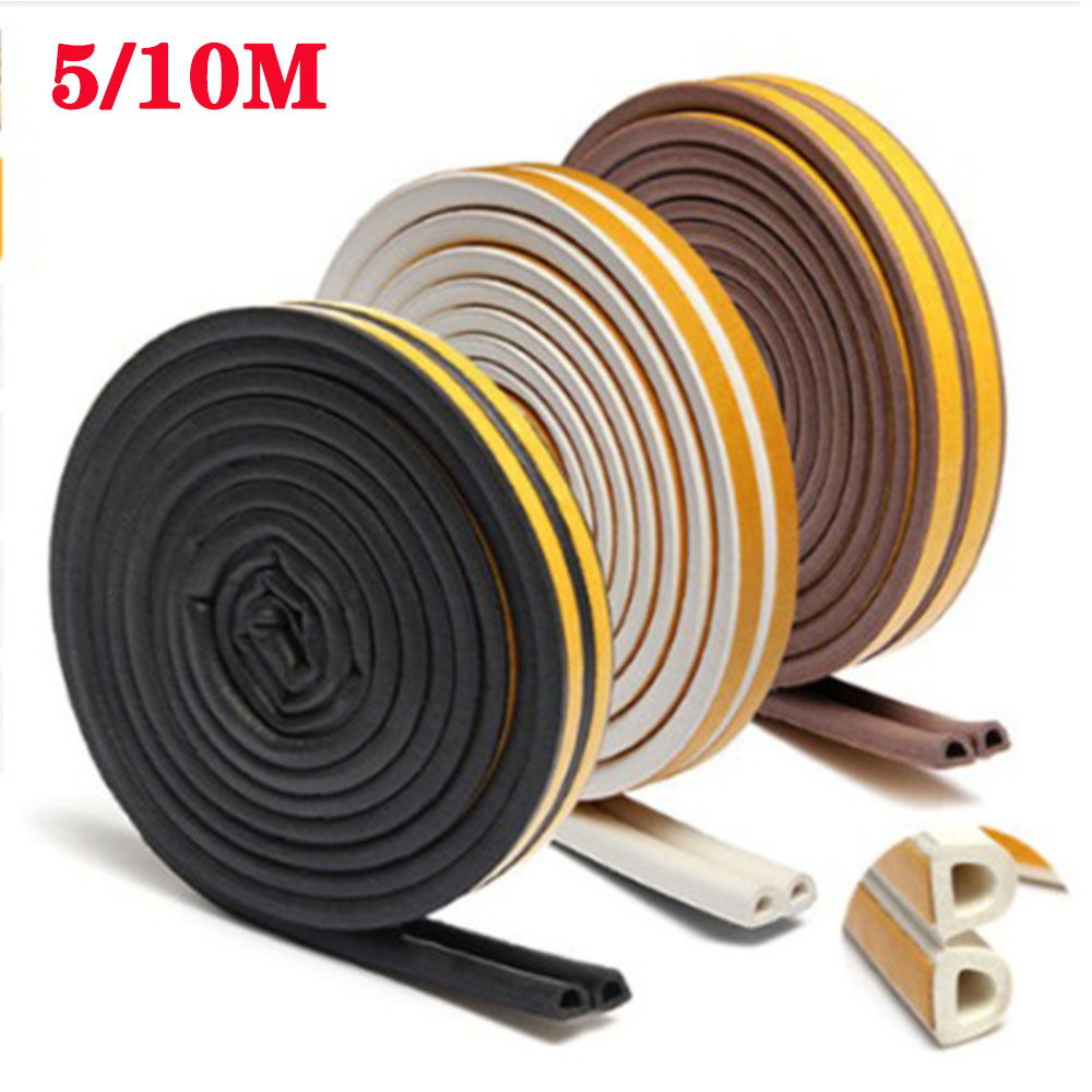 5/10 Meters Installed Self-adhesive Doors Windows Sound-proof Sealing Strip Window Wood Door Joint Windproof Crash-proof Rubber