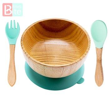 Miska do karmienia niemowląt płytki talerz dla dzieci drewniane naczynia do karmienia dzieci z silikonowe przyssawki drewniane widelec łyżka naczynia dla dzieci