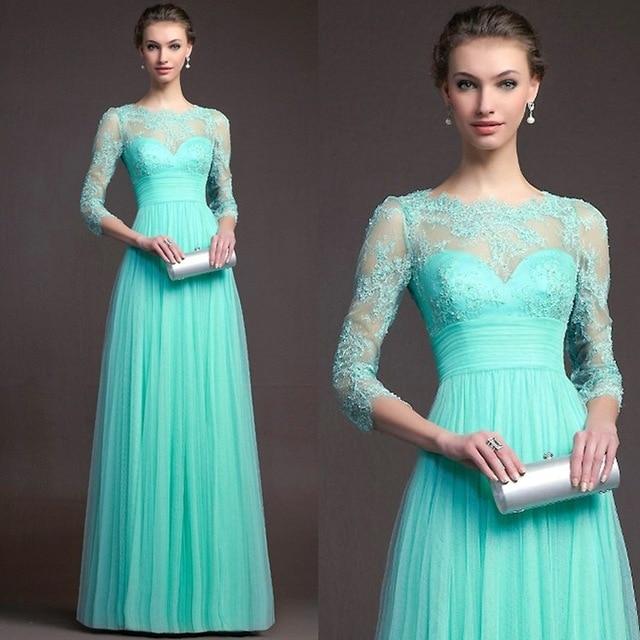 BacklakeGirls 2019 Autumn Elegant Round Neck Long Sleeve A-line Chiffon Evening Dress Green Red Lace Evening Gowns Feest Jurken 1
