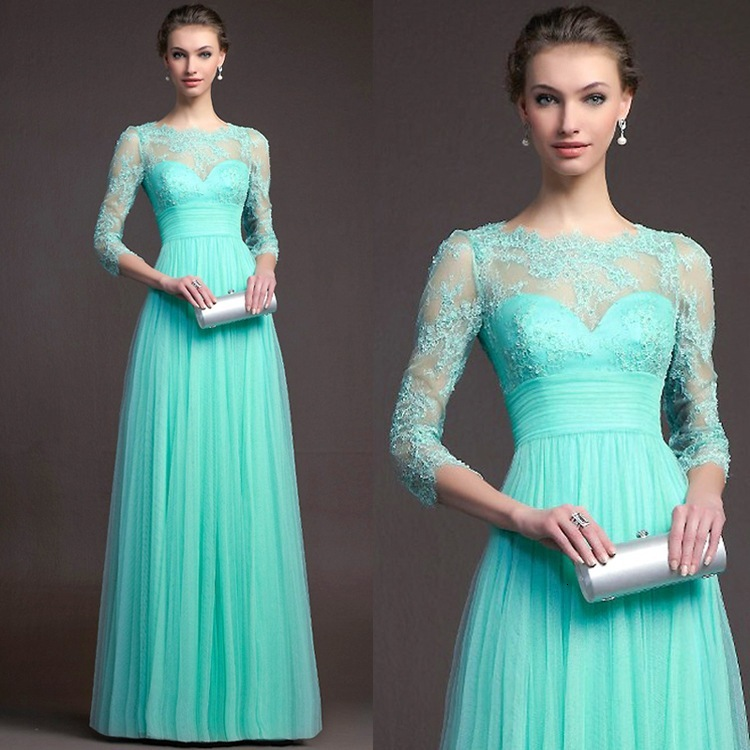 BacklakeGirls 2019 Autumn Elegant Round Neck Long Sleeve A-line Chiffon Evening Dress Green Red Lace Evening Gowns Feest Jurken