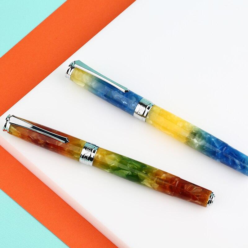 PENBBS 500 Colorful Acrylic Piston Fountain Pen Silver Clip Fine Nib Writing Pen