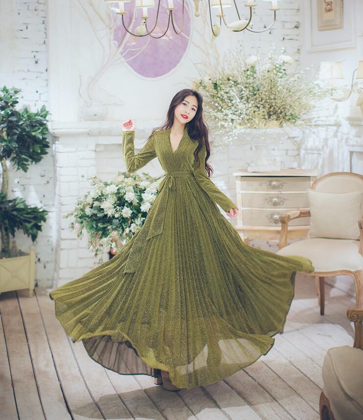 Haute qualité nouvelle robe dorée pour femmes à manches longues Vintage femmes col en v grande balançoire longue robe