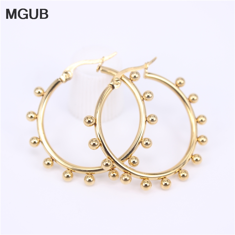 Three Sizes Hot Sale Stainless Steel Gold Color High Quality Hoop Earrings For Women Jewelry 2020 New Design SL39