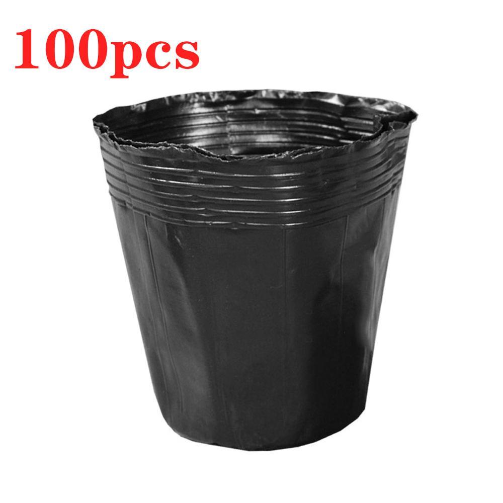 100Pcs Plastic Flower Pot Plant Nursery Flowerpot Seedlings Planter Containers Set Bottom Hollow Nursery Pot Garden Supplies