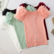 Women Fashion Knitting Sweet T-shirts Tops Lady Sleeveless Patchwork Ruffles Mesh Tshirt Pullovers For Girls