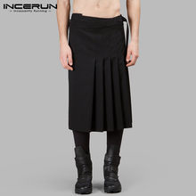 INCERUN Vintage Scottish Men Skirts Solid Color Streetwear Personality Kilt Trousers Retro Traditional Mens Pleated Skirts S-5XL(China)