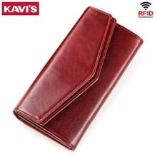KAVIS Genuine Leather Wallet Female Coin Purse Women Portomonee Clutch  Lady Clamp for Phone Bag Zipper Card Holder Handy Perse