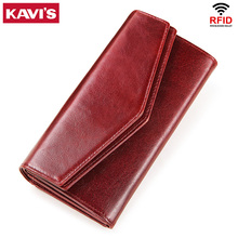 KAVIS cartera de piel auténtica para mujer, monedero femenino, cartera de mano con abrazadera para teléfono, bolsa con cierre, tarjetero
