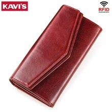 Kavis本革財布女性コイン財布女性portomoneeクラッチ女性用電話バッグジッパーカードホルダー便利なperse