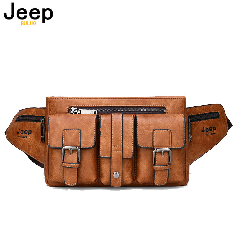 JEEP BULUO Brand Waist Bags Men Fanny Pack Male Belt Bag Shoulder Crossbody Waist Packs Leather Chest Phone Pouch Hiking Daypack