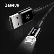 Светодиодный кабель Micro USB Baseus для Xiaomi Redmi 4X Note 4 5, Реверсивный зарядный кабель Micro usb для мобильного телефона samsung S7