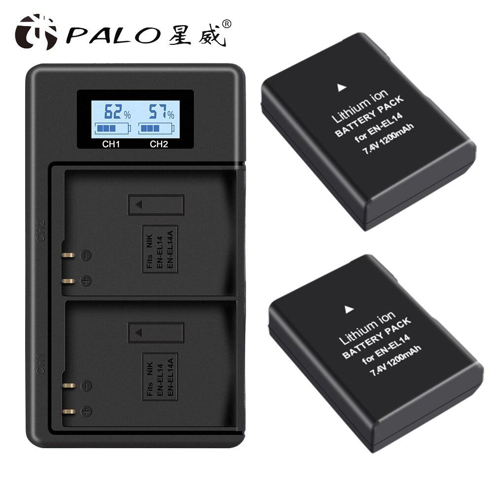 Palo EN-EL14 EN-EL14a ENEL14 EN EL14 EL14a Battery +LCD Dual USB Charger for Nikon D3100 D3200 D3300 D5100 D5200 D5300