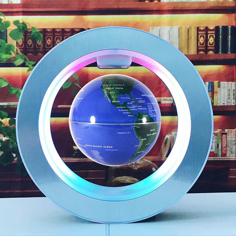 LumiParty 4 Inches Round LED Floating Globe Magnetic Levitation Light For Home Desktop Decor 10.5cm
